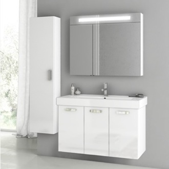 39 Inch Glossy White Bathroom Vanity Set ACF C96