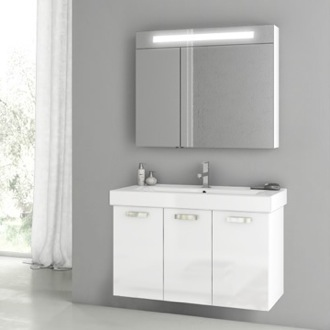 39 Inch Glossy White Bathroom Vanity Set ACF C94