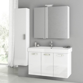 39 Inch Glossy White Bathroom Vanity Set ACF C95
