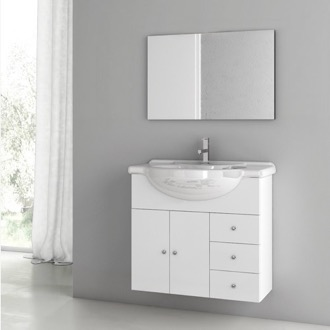 32 Inch Glossy White Bathroom Vanity Set ACF LON04