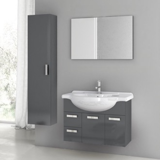 32 Inch Glossy Anthracite Bathroom Vanity Set ACF PH13