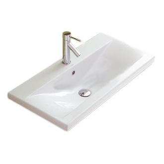 Bathroom Sink Rectangular White Ceramic Wall Mounted or Self Rimming Bathroom Sink Althea 30387