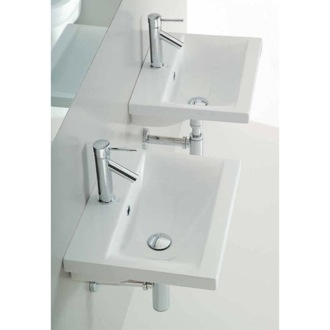 Bathroom Sink Rectangular White Ceramic Wall Mounted or Self Rimming Bathroom Sink Althea 30382