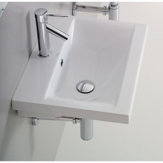 Bathroom Sink Rectangular White Ceramic Wall Mounted or Self Rimming Bathroom Sink Althea 30383