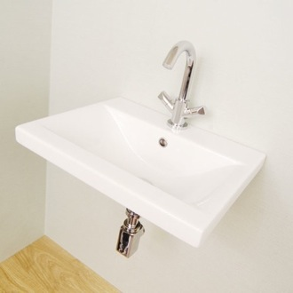 Rectangular White Ceramic Wall Mounted or Drop In Bathroom Sink Althea 30385
