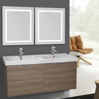 Bathroom Vanity 47 Inch Larch Canapa Wall Mounted Bathroom Vanity Set, Lighted Vanity Mirror Included ARCOM DF09