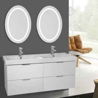 Bathroom Vanity 47 Inch Ash White Wall Mounted Bathroom Vanity Set, Lighted Vanity Mirror Included ARCOM DF26