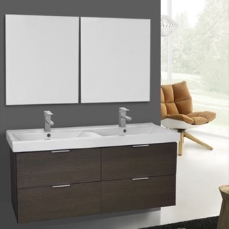 Bathroom Vanity 47 Inch Grey Oak Wall Mounted Bathroom Vanity Set, Vanity Mirror Included ARCOM DF37