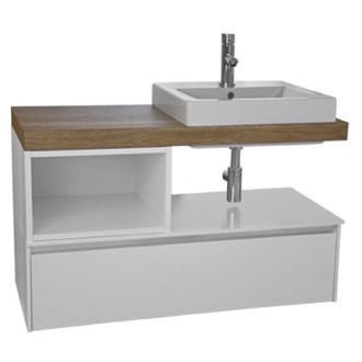 Bathroom Vanity 41 Inch Wall Mount White/Aged Brown Top Vanity Cabinet With Square Vessel Sink LAF001 ARCOM LAF001