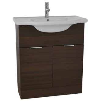 Bathroom Vanity 32 Inch Floor Standing Larch Brown Vanity Cabinet With Fitted Sink NC01 ARCOM NC01