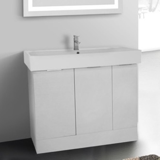 Bathroom Vanity 40 Inch Floor Standing Larch White Vanity Cabinet With  Fitted Sink ARCOM O4O02