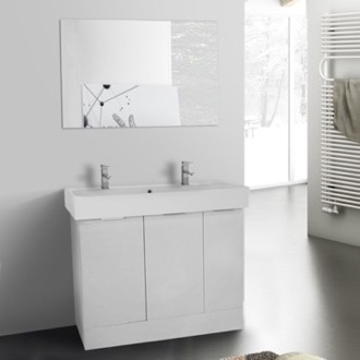 Bathroom Vanity 40 Inch Larch White Floor Standing Bathroom Vanity Set, Vanity Mirror Included ARCOM O4T23
