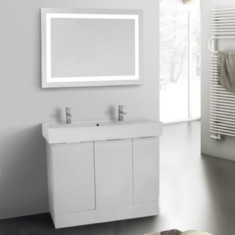 Bathroom Vanity 40 Inch Larch White Floor Standing Bathroom Vanity Set, Lighted Vanity Mirror Included ARCOM O4T25