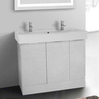Bathroom Vanity 40 Inch Floor Standing Larch White Double Vanity Cabinet With Fitted Sink ARCOM O4T02