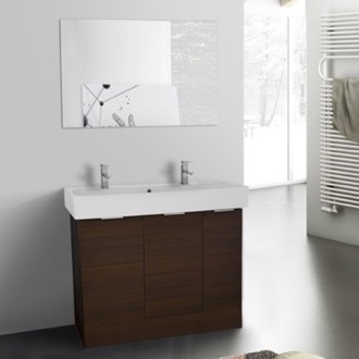 Bathroom Vanity 40 Inch Larch Brown Floor Standing Bathroom Vanity Set, Vanity Mirror Included ARCOM O4T08