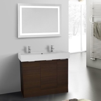 Bathroom Vanity 40 Inch Larch Brown Floor Standing Bathroom Vanity Set, Lighted Vanity Mirror Included ARCOM O4T10
