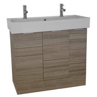 Bathroom Vanity 40 Inch Floor Standing Larch Canapa Double Vanity Cabinet With Fitted Sink O4T03 ARCOM O4T03