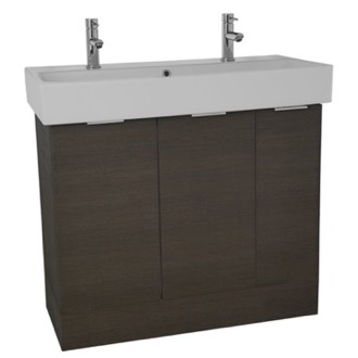 Bathroom Vanity 40 Inch Floor Standing Grey Oak Double Vanity Cabinet With Fitted Sink O4T04 ARCOM O4T04