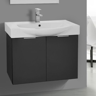 bathroom vanity 28 inch wall mount glossy anthracite vanity cabinet with fitted curved sink arcom kal02