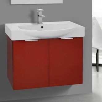 28 Inch Wall Mount Glossy Red Vanity Cabinet With Fitted Curved Sink ARCOM KAL05