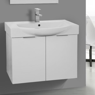 Bathroom Vanity 28 Inch Wall Mount Glossy White Vanity Cabinet With Fitted  Curved Sink ARCOM KAL01