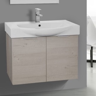 28 Inch Wall Mount Natural Vanity Cabinet With Fitted Curved Sink ARCOM KAL08