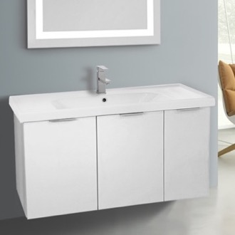 39 Inch Wall Mount Larch White Vanity Cabinet With Fitted Sink ARCOM LAM02