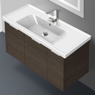 39 Inch Wall Mount Grey Oak Vanity Cabinet With Fitted Sink ARCOM LAM03