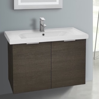 31 Inch Wall Mount Grey Oak Vanity Cabinet With Fitted Sink ARCOM LAM06