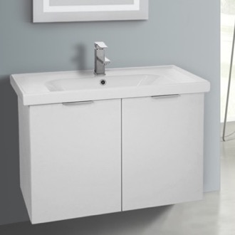 31 Inch Wall Mount Larch White Vanity Cabinet With Fitted Sink ARCOM LAM05