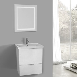 Bathroom Vanity 24 Inch Sherwood White Wall Mounted Bathroom Vanity Set, Lighted Vanity Mirror Included ARCOM ME21