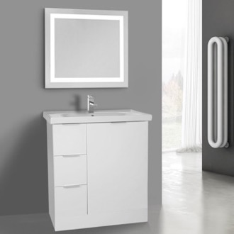 32 Inch Glossy White Floor Standing Bathroom Vanity Set, Lighted Vanity Mirror Included ARCOM WA52