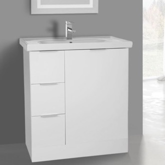 31 Inch Floor Standing Glossy White Vanity Cabinet With Fitted Sink ARCOM WA03