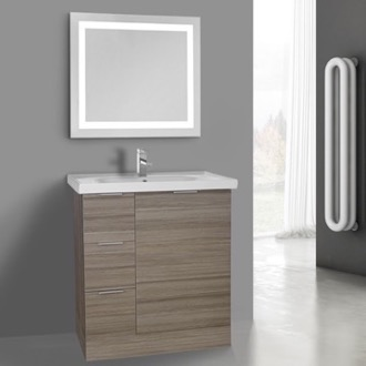 32 Inch Larch Canapa Floor Standing Bathroom Vanity Set, Lighted Vanity Mirror Included ARCOM WA34