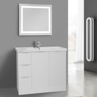 39 Inch Glossy White Floor Standing Bathroom Vanity Set, Lighted Vanity Mirror Included ARCOM WA96
