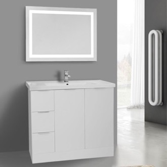 39 Inch Glossy White Floor Standing Bathroom Vanity Set, Lighted Vanity Mirror Included ARCOM WA98