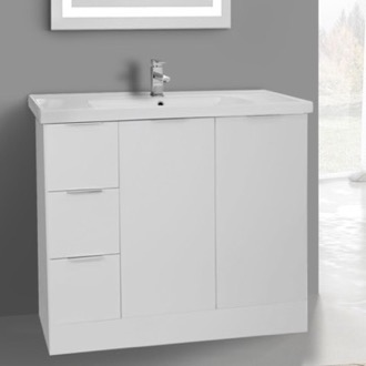 39 Inch Floor Standing Glossy White Vanity Cabinet With Fitted Sink ARCOM WA06