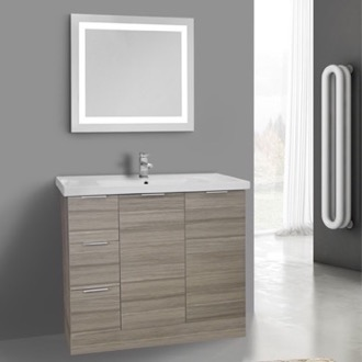 39 Inch Larch Canapa Floor Standing Bathroom Vanity Set, Lighted Vanity Mirror Included ARCOM WA81