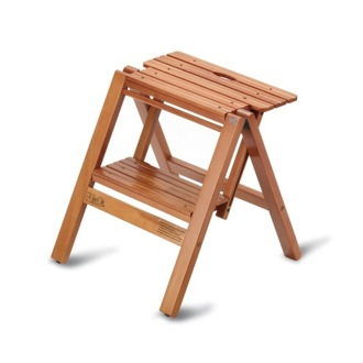 Step Stool Cherry Folding Beech Wood Stepladder and Stool Aris 912L-C