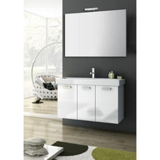 39 Inch Glossy White Bathroom Vanity Set ACF C45
