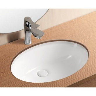 Bathroom Sink Oval White Ceramic Undermount Bathroom Sink CA4008 Caracalla CA4008