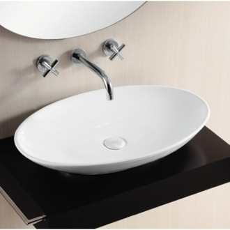 Bathroom Sink Oval White Ceramic Vessel Bathroom Sink CA40148 Caracalla CA40148