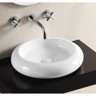 Round White Ceramic Vessel Bathroom Sink Caracalla CA4027