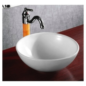 Round White Ceramic Vessel Bathroom Sink Caracalla CA4030