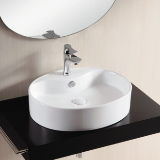 Bathroom Sink Oval White Ceramic Vessel Bathroom Sink CA4031 Caracalla CA4031