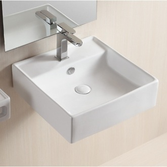 Square White Ceramic Wall Mounted Or Vessel Bathroom Sink Caracalla CA4032