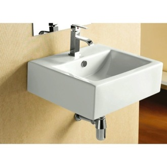 Bathroom Sink Square White Ceramic Wall Mounted or Vessel Bathroom Sink Caracalla CA4034