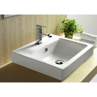 Bathroom Sink White Ceramic Drop In or Wall Mounted Bathroom Sink Caracalla CA4034A