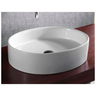 Bathroom Sink Oval White Ceramic Vessel Bathroom Sink CA4035 Caracalla CA4035