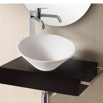 Round White Ceramic Vessel Bathroom Sink Caracalla CA4037